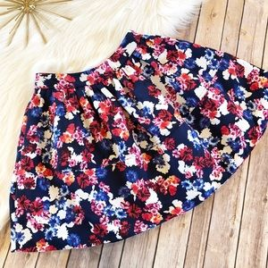 Express Floral Flare Mini Skirt